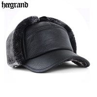 Men Baseball Caps Winter Warm Leather Hats Man Artificial Wool Snapback Cap  PMA027