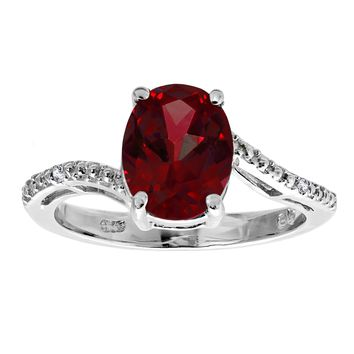 2.8 Ct Oval Natural Red Garnet .01 cttw Diamond 925 Sterling Silver Ring