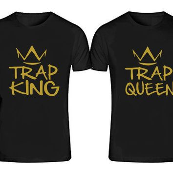 TRAP KING  - TRAP QUEEN T-shirts + Your NAMES or another text on the back