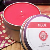ROOT CHAKRA CANDLE - Grounding, Safety, Security & Manifestation Issues