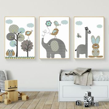 SURE LIFE Cartoon Giraffe Rabbit Elephant Animals Canvas Painting Nordic Pictures Wall Art Baby Nursery Rooms Poster Home Decor