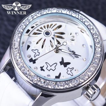T-Winner GMT980 White Diamond Women Casual Skeleton Mechanical White Leather Watch