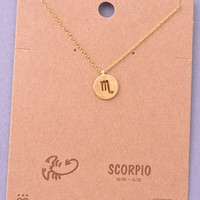 Dainty Circle Coin Scorpio Zodiac Symbol Necklace - Gold or Silver