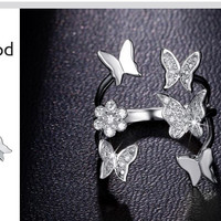 Lovely Ladies Butterfly Ring Rose Gold Plated Open Rings For Women With Top Quality Cubic Zirconia Stone Jewelry Gifts -0330