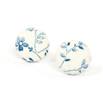 White blue fabric earrings - porcelain flower button earrings - tiny summer stud earrings