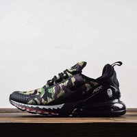 HCXX A Bathing APE x Nike Air Max 270 series heel half palm cushion jogging shoes shark Green camouflage