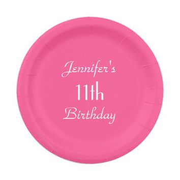 Hot Pink Paper Plates, 11th Birthday Party Paper Plate