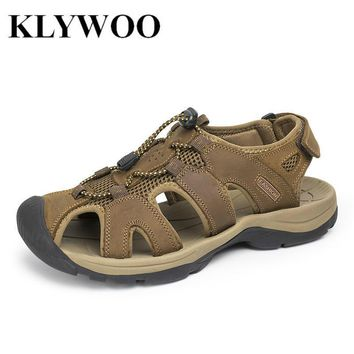 Plus Size 38-47 Men Sandals Genuine Leather Fashion Summer Shoes Men Slippers Breatha