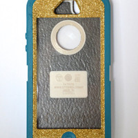 Otterbox Case iPhone 5 Glitter Cute Sparkly Bling Defender Series Custom Case Gold Champagne/ Teal