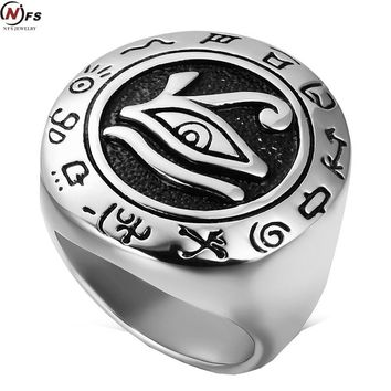 NFS Cool Big Mens Boys Egyptian Eye Of Horus Ra Udjat Talisman Silver Stainless Steel Ring Fashion Jewelry Size 7-14