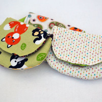 Set of three coin purses, change purse, stocking stuffers in green with animals and stars