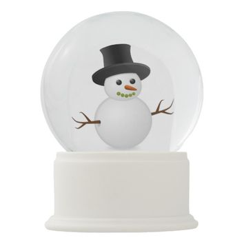 Happy Winter Snowman High Hat Carrot Nose Snow Snow Globe