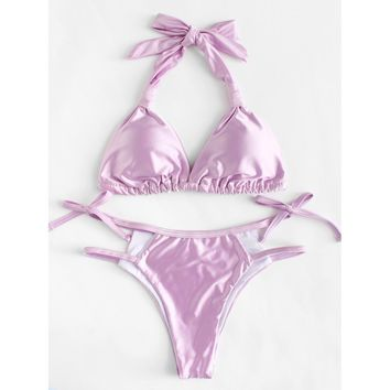 Ladder Cutout Metallic Bikini Set PINK