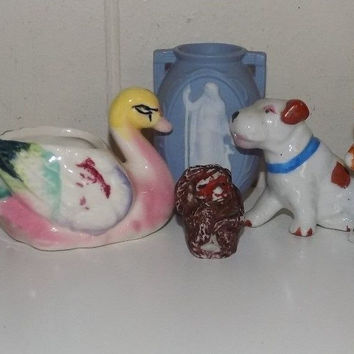 Glass Porcelain Figures Made in Occupied Japan Dog Elephant Swan