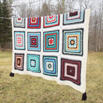 """Vintage crochet afghan throw blanket - Large colorful squares with white and off-white border and black tassels 65"""" x 59"""""""