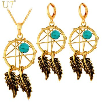 U7 Hot Gold Color Jewelry Set Native American Style Women Fashion Jewelry Set Dream Cather Necklace Earrings Set S827