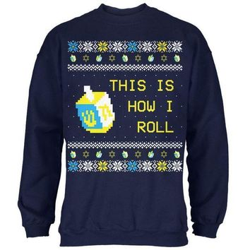 ICIK8UT Hanukkah This is How I Roll Dreidel Ugly Christmas Sweater Mens Sweatshirt