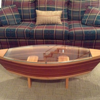 Handmade Canoe Shaped Glass Top Boat Shelf Coffee Table Home Decor #coffetable #wood #homedecor #furniture #cabin #style