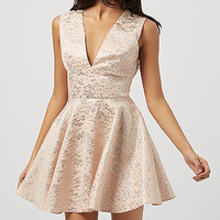 John Zack Shell Pink Metallic Jacquard Skater Dress