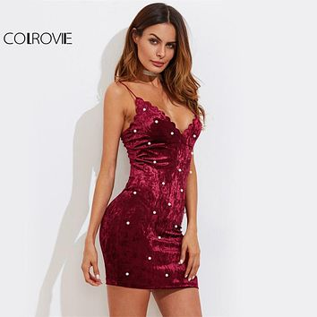 COLROVIE Pearl Beading Crushed Velvet Dress Scalloped V Neck Women Bodycon Party Cami Dresses  Zip Back Lady Mini Dress
