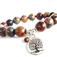 Tree of Life Mala Bracelet Wisdom Strength Jasper Spiritual Yoga Jewelry Unique Birthday Earthy Gift For Her or Him Under 50 Item Y47