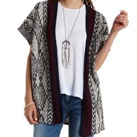 Aztec-Striped Poncho Cardigan Sweater