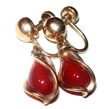 "Carnelian 12K Gold Filled Nugget Earrings Wire Wrap Screw Backs 1 1/4"" Vintage"