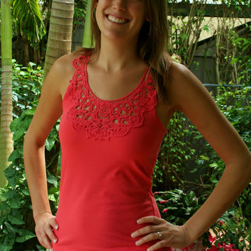 Coral Lace Racerback Tank Top