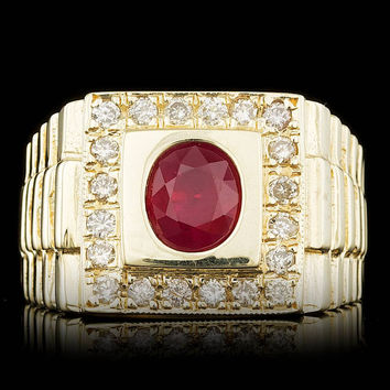 14K YELLOW GOLD 1.50CT RUBY 0.65CT DIAMOND MENS RING