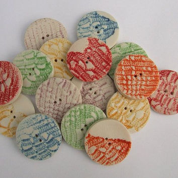 Five Colourful Porcelain Ceramic Round Buttons with Lace Print - Craft Supplies