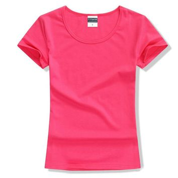 Women t-shirt brand fashion Cotton lycra tee tops Short Sleeve crop top tshirt for women's solid color o-neck t shirts clothing