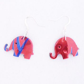 Red and blue elephant earrings made from Red Rain energy drink can - gift for her -soda can earrings - Handmade earrings - upcycled jewelry