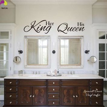 Her King His Queen Quote Wall Sticker Bathroom Hang Towel Mirror Bedroom Sofa Wedding Floor Lettering Decal Vinyl Home Decor
