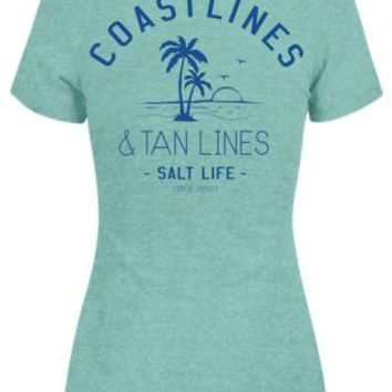 NEW Salt Life Coast Lines and Tan Lines V-Neck T-Shirt for Ladies