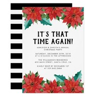Poinsettia Floral Christmas Party Invitation