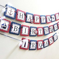 Nautical Birthday Party Banner in Navy Blue and Red