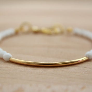 Boho Chic Gold Tube Bracelet Fashion Minimalist Jewelry Simple Bead Bracelet