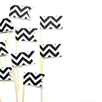 12 Black Chevron Flag Cupcake Toppers - Washi Tape Cupcake Toppers, wedding, engagement, birthday, baby shower, tea party