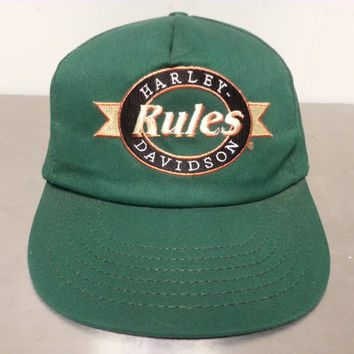 Vintage 90's Harley Davidson Rules Snapback Dad Hat Green Made In USA Motorcycle Americana Classic Minimal Style