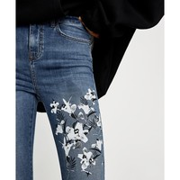 MID-RISE JEANS WITH PEARLY APPLIQUÉS