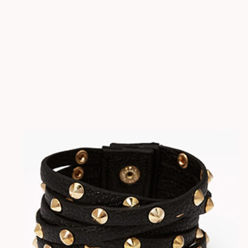 Spiked Faux Leather Cuff