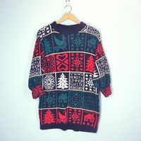 80s Soft Vintage Sweater, Ugly Christmas Sweater, Tunic Length Sweater, Holiday Sweater,