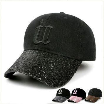 PEAPU3S 2017 denim cap women bling rhinestone baseball caps fitted Diamond embroidery letter solid caps hats for women