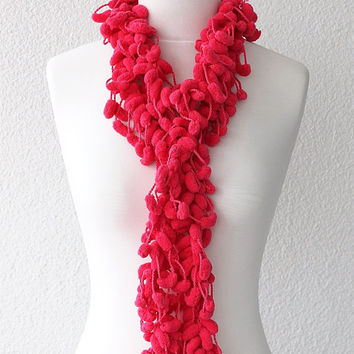 Hot Pink Pom Pom Scarf Long Mulberry Scarf Christmas Gift