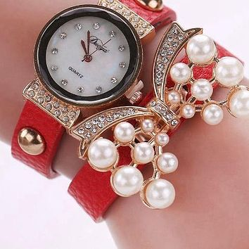 Watches Women Luxury Bow Pearl Bracelet Wristwatch Women Fashion  Leather Electronics Watch