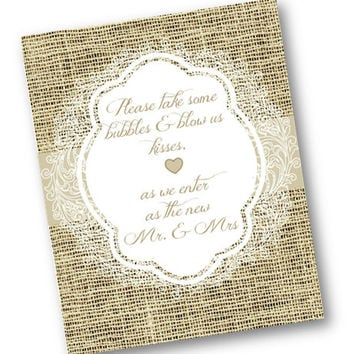 Wedding burlap and lace Bubbles Mr and Mrs Sign 8x10 Printable candy bar elegant rustic vintage printable picture