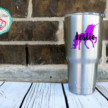 Unicorn Decal, Unicorn Name Decal, Unicorn Yeti Cup Decal, Name Decal for Cup, Water Bottle Decal, Unicorn Car Decal, Teen Girl Gift