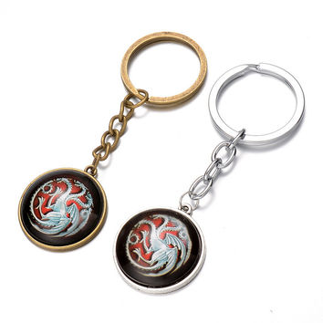 Game of thrones targaryen stark keychain 2016 New A Song of Ice and Fire fire dragon car key chain ring Pendant ornament gifts