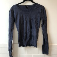 Ruched Sleeve Navy Sweater