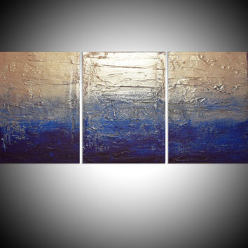 "LARGE WALL ART triptych 3 panel wall contemporary art ""Silver Triptych"" canvas original painting abstract canvas pop wall kunst 48 x 20"""